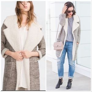 Zara Knit Grey Sherpa Open Lapel Sweater Cardigan